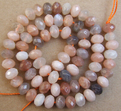 5x8MM Natural Multicolore Sunstone Faceted Rondelle Loose Beads 15""