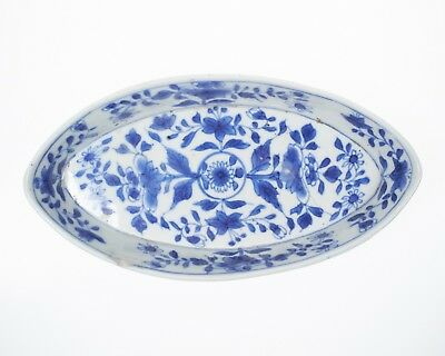 Antique Chinese blue and white porcelain boat shaped dish