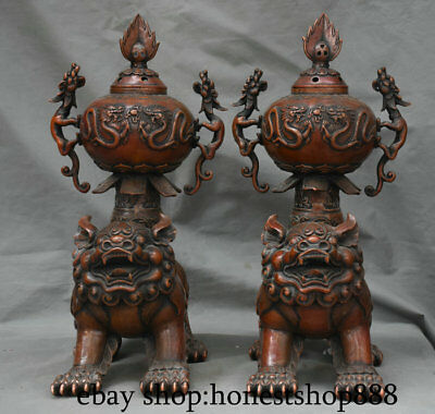 "15"" Old Chinese Purple Bronze Dynasty Lion Dragon 福 incense burner Pair Statue"