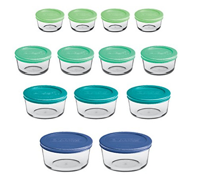 Anchor Hocking 12895ECOM Classic Glass Food Storage Containers with Lids, Mixed
