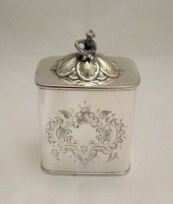 Fine Delicate 19th Century Silver Plated Tea Caddy - Chinese Man Handle