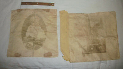 Antique Pair of Pillow Cases with Photographs of Children Rare and Unusual Nice