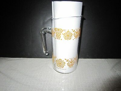 Rare Vtg Pyrex Corning 32 Oz Butterfly Gold Pitcher Carafe Open Handle Down