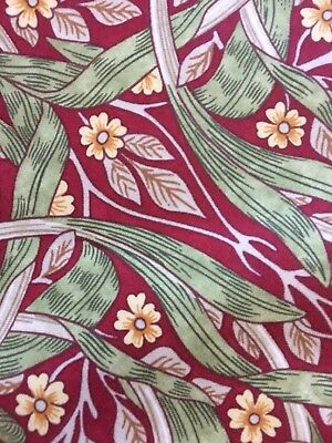 Per Mtr WILLIAM MORRIS CURTAIN FABRIC Pimpernel 100% COTTON Red Green Beige