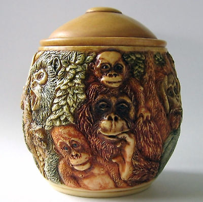 MPS Harmony Kingdom: Jardinia: Small Orangutans / Apes Trinket Pot: Jungle Fever