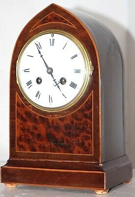 Antique Inlaid Mahogany French Gothic Beehive Mantel Clock W/ Porcelain Dial.
