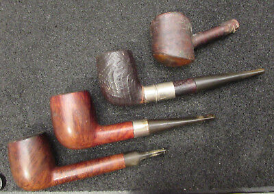 4 Vintage Smoking Pipes - 3 Briar London Made & 1 French Ropp - All Used