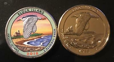 2018 S  Colorized & 24K Gold Layered Block Island (Rhode Island) Quarter Set