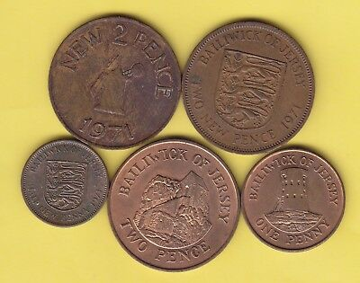 Jersey  small lot of 5 coins........................24