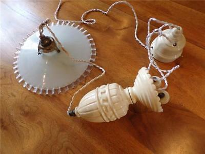 Vintage French Art Deco Ceramic Rise & Fall Suspension Light + Glass Light Shade