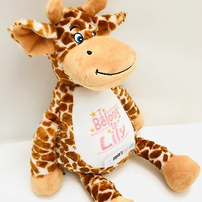 Giraffe Personalised Embroidered Mumbles Teddy Bear Soft Toy Birth Christening