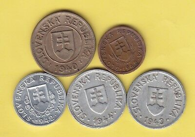 Slovakia  small lot of 5 older coins........................26