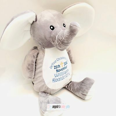 Elephant Personalised Embroidered Mumbles Teddy Bear Soft Toy Birth Christening