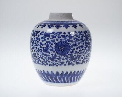 Antique Chinese blue and white porcelain jar