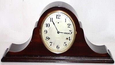 ANTIQUE 1920'S WmL. GILBERT CARVED MAHOGANY ART DECO DUAL CHIME TAMBOUR CLOCK.