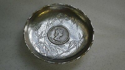 Vintage Sterling Silver Chinese Engraved Pin Dish 1973 Dollar Coin 50 Grammes