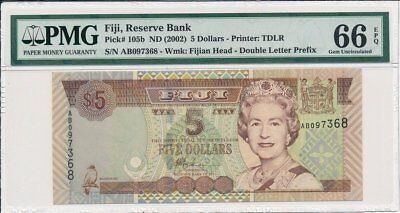 Reserve Bank Fiji  $5 ND(2002)  PMG  66EPQ