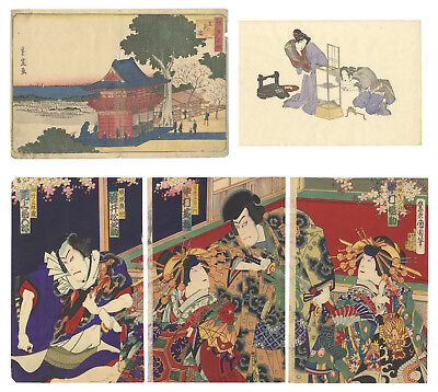 Original Japanese Woodblock Print, Ukiyo-e, Set of 3, Beauty, Landscape, Kabuki
