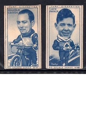 1949 Turf Motor Cycle Cigarette Cards, 2 Different Cards, M. Craven, Jack Parker