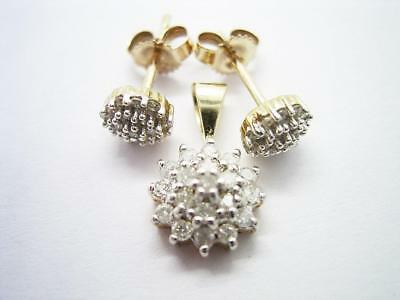Modern Secondhand 9Ct Gold Natural Diamond Cluster Pendant &  Matching Earrings