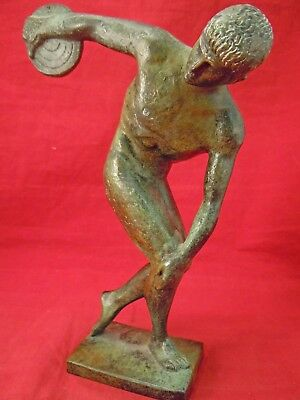 "E87I Bronze Greek Olympic Discus Thrower Statue Museum Reproduction 8.5"" Tall"