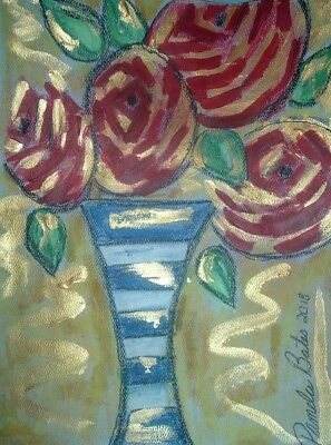 Original painting art Artist By PB red roses impressionist abstract