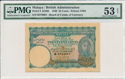Board of Comm.of Currency Malaya  25 Cents 1940  PMG  53NET