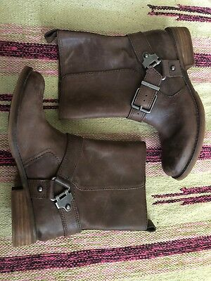 4eab1c8ed49 GIANNI BINI BROWN Leather Slip On Harness Ankle Riding Boots Womens SIze  6.5 M