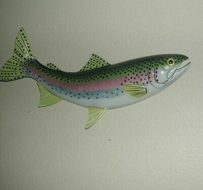 """18"""" Wall Mount Molded Resin Large Size Rainbow Trout Hand Painted Very Real!"""