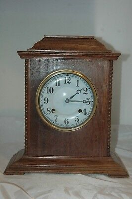 Antique Ansonia Oak Case Mantle Clock With Key & Pendulum,working.