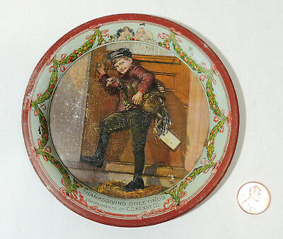 Antique 1920s vtg C.D KENNY Thanksgiving Tin TIP TRAY Delivery Boy with Turkey
