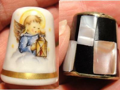 Vtg Mother of Pearl Alpaca Mexico & Schmid West Germany Angel Thimble Lot