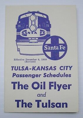 "1959 Santa Fe Railroad ""The Oil Flyer"" an ""The Tulsan"" Passenger Train Schedule"