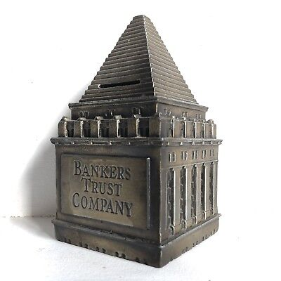 """Vtg Bankers Trust Company Promotional Cast Metal Coin Bank 6"""" Building Tower"""