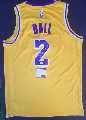 ec0d3c679746 Lakers Lonzo Ball Signed Gold Nba Basketball Jersey With A Psa Coa    Hologram
