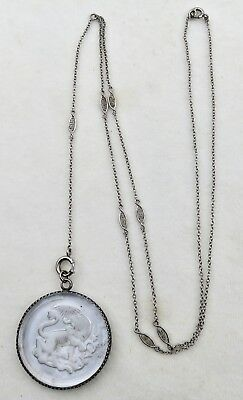 Antique Victorian Intaglio Carved Rock Crystal Sterling Pendant & Chain Necklace