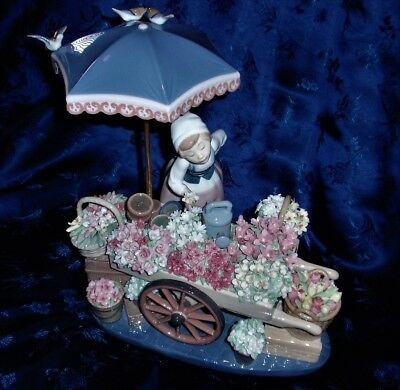 "Lladro Figurine ""Flowers of the Season"" #1454 Flower Cart Perfect Condition"