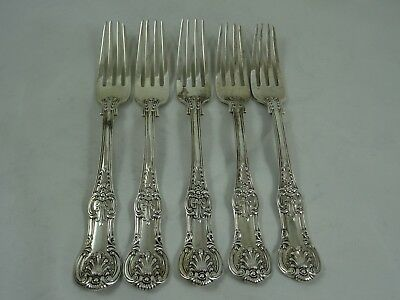 FINE set x 5  `QUEENS` pattern solid silver TABLE FORKS, 1857, 501gm
