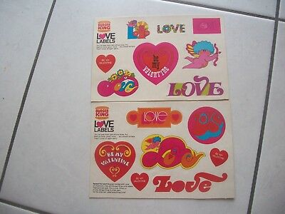 2 sheets of Burger King Love Labels Valentine Stickers from the 70's FREE ship