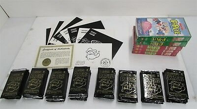 POPEYE PREMIUM LOT, 10 Certified Sketches(9 Sealed), 80 Boosters, 5 VHS!