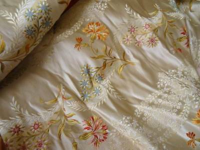 Two Beautiful Early 19th Century Lyon Silk Brocade Floral Sleeve Panels