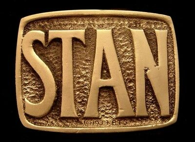 Oa28143 *Nos* Vintage 1978 Bts  ***Stan*** Small Solid Brass Name Buckle