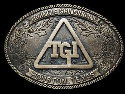 MF01135 VINTAGE 1980s **TRIANGLE GRINDING, INC.** SOLID BRASS BELT BUCKLE