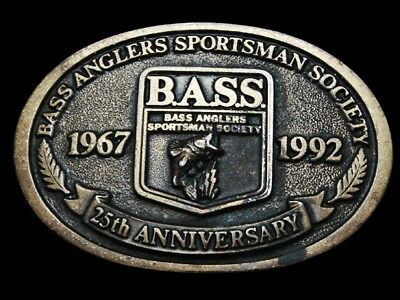 Ma21113 Vintage 1992 **Bass Anglers Sportsman Society** 25Th Anniversary Buckle