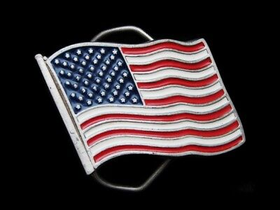 Ma21120 Vintage 1991 **Flag Of The United States Of America** Belt Buckle