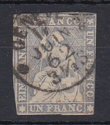 Switzerland 1856 1Fr Grey Lilac Strubel fine used