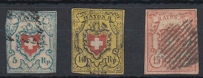 Switzerland 1850 - 1852 Rayon's 5r, 10r and 15r fine used