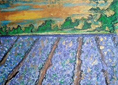 garden of lavender original painting art By Artist PB Impressionist abstract