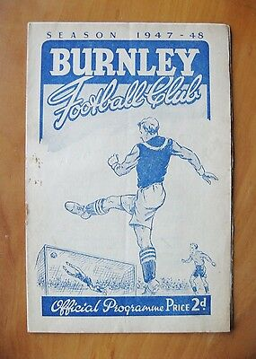 BURNLEY v CHARLTON ATHLETIC 1947/1948 *VG Condition Football Programme*