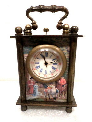 Miniature Wind Up Carriage Clock With Multi Color Victorian Scenes On Case